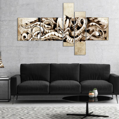 Designart Octopus Sketch In White Shade MultipanelAnimal Canvas Art Print - 4 Panels