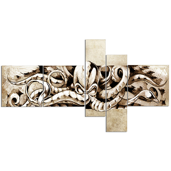 Designart Octopus Sketch In White Shade MultipanelAnimal Canvas Art Print - 5 Panels