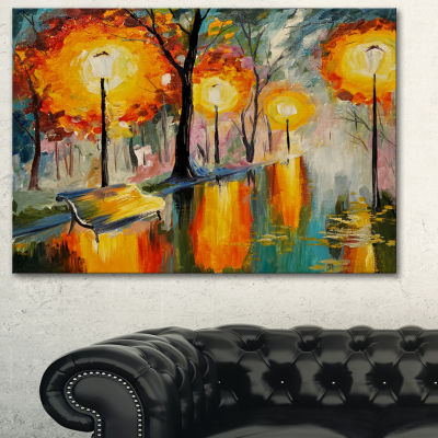 Designart Street In Autumn Landscape Art Print Canvas - 3 Panels
