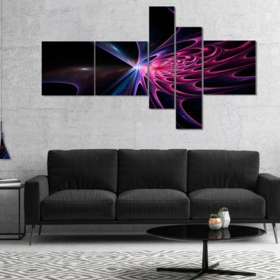 Designart Blue Fractal Light Art In Dark Multipanel Abstract Canvas Art Print - 4 Panels