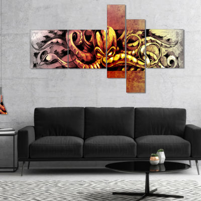 Designart Octopus Sketch In Yellow Shade Multipanel Animal Canvas Art Print - 4 Panels