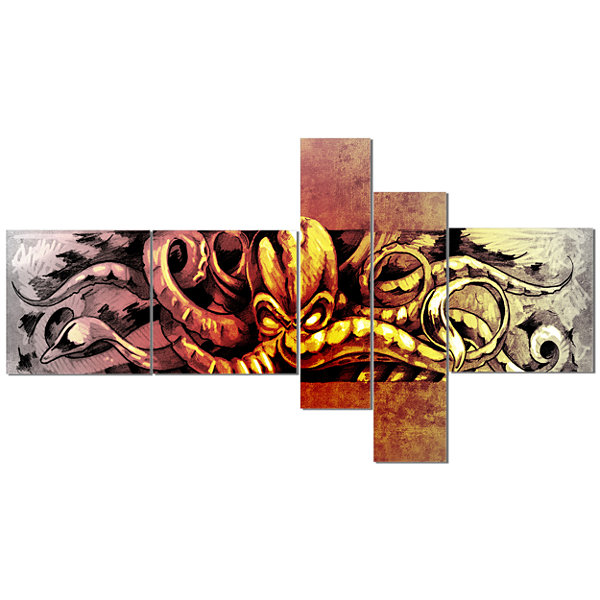 Designart Octopus Sketch In Yellow Shade Multipanel Animal Canvas Art Print - 5 Panels