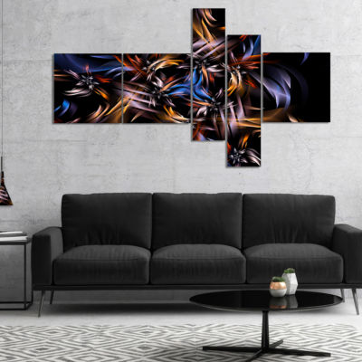 Designart Blue Fractal Light Art In Dark Multipanel Blue Multipanel Abstract Canvas Art Print - 5 Panels