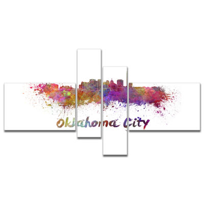 Designart Oklahoma Skyline Multipanel Cityscape Canvas Artwork Print - 4 Panels