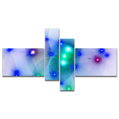 Designart Blue Fractal Lights In Fog Multipanel Abstract Wall Art Canvas - 4 Panels