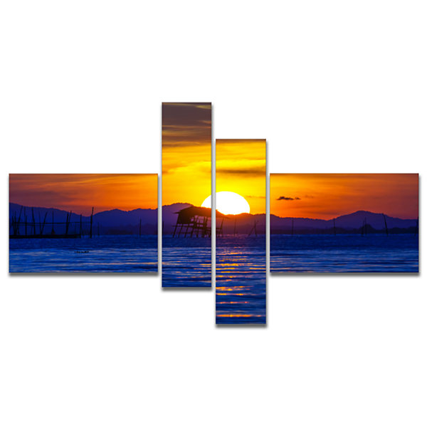 Designart Old Wooden Pavilion In Sea Multipanel Seascape Canvas Art Print - 4 Panels
