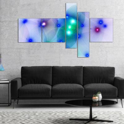 Designart Blue Fractal Lights In Fog Multipanel Abstract Wall Art Canvas - 5 Panels