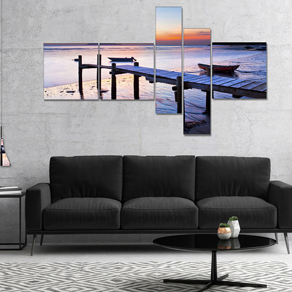 Designart Old Wooden Pier At Sunset Multipanel Seascape Canvas Art Print - 4 Panels