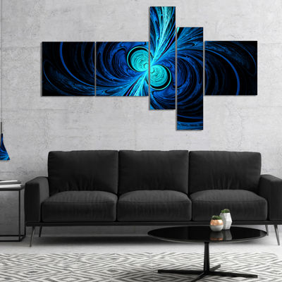 Designart Blue Fractal Multipanel Abstract CanvasArt Print - 5 Panels