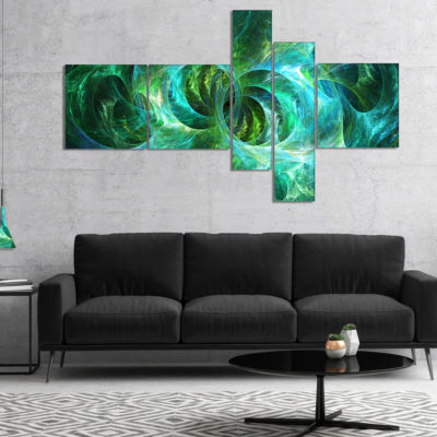 Designart Blue Fractal Ornamental Glass MultipanelAbstract Canvas Art Print - 5 Panels