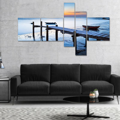 Designart Old Wooden Pier In Bright Sea MultipanelSeascape Canvas Art Print - 5 Panels