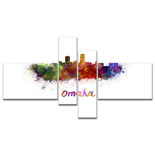 Designart Omaha Skyline Multipanel Cityscape Canvas Art Print - 4 Panels