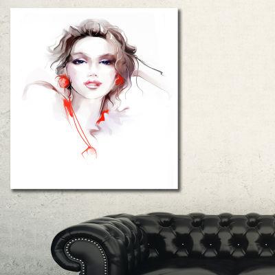 Designart Stylish Woman Portrait Canvas Art Print-3 Panels