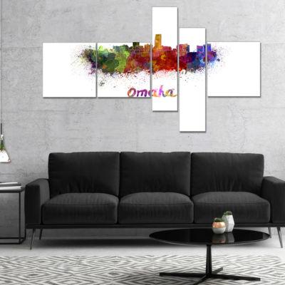 Designart Omaha Skyline Multipanel Cityscape Canvas Art Print - 5 Panels