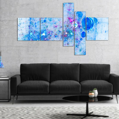 Designart Blue Fractal Planet Of Bubbles Multipanel Abstract Wall Art Canvas - 4 Panels
