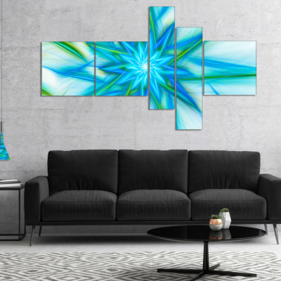 Designart Blue Fractal Shining Bright Star Multipanel Abstract Canvas Art Print - 4 Panels