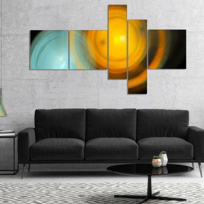 Designart Orange Fractal Desktop Multipanel Abstract Canvas Art Print - 4 Panels