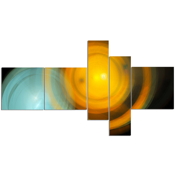 Designart Orange Fractal Desktop Multipanel Abstract Canvas Art Print - 5 Panels