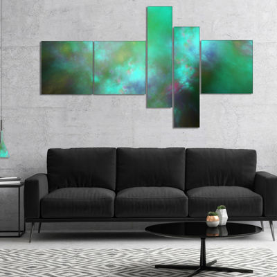 Designart Blue Fractal Sky With Blur Stars Multipanel Abstract Canvas Art Print - 4 Panels