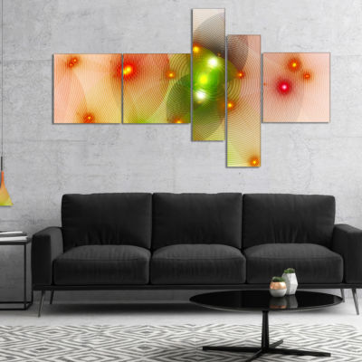 Designart Orange Fractal Lights In Fog MultipanelAbstract Wall Art Canvas - 4 Panels