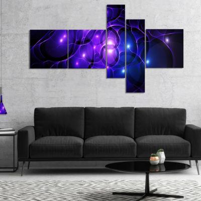 Designart Blue Fractal Space Circles Multipanel Abstract Canvas Art Print - 4 Panels