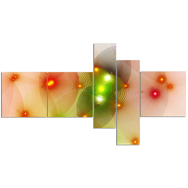 Designart Orange Fractal Lights In Fog MultipanelAbstract Wall Art Canvas - 5 Panels