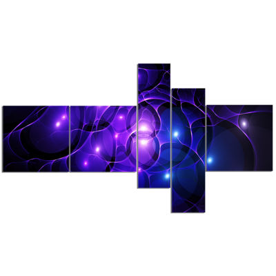 Designart Blue Fractal Space Circles Multipanel Abstract Canvas Art Print - 5 Panels