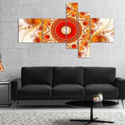 Designart Orange Fractal Pattern With Circles Multipanel Abstract Canvas Art Print - 4 Panels