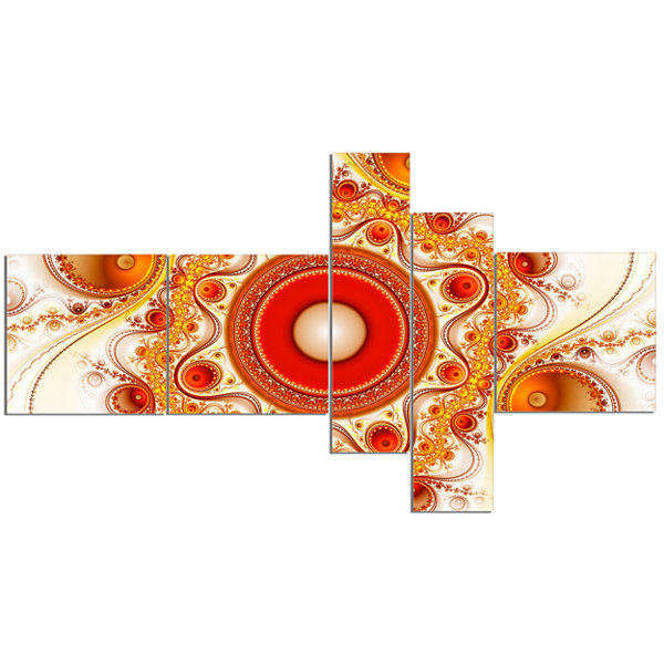 Designart Orange Fractal Pattern With Circles Multipanel Abstract Canvas Art Print - 5 Panels