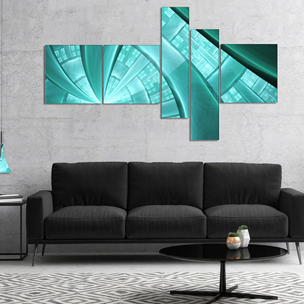 Designart Blue Fractal Stained Glass Multipanel Abstract Canvas Art Print - 5 Panels