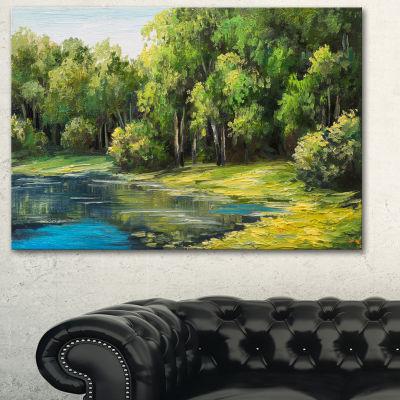 Designart Summer Day Lake In Forest Landscape ArtPrint Canvas