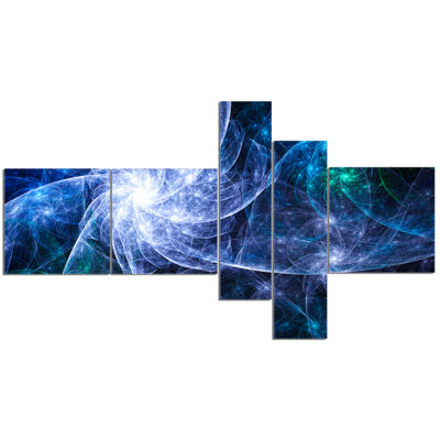 Designart Blue Fractal Star Pattern Multipanel Abstract Canvas Art Print - 5 Panels