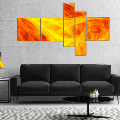 Designart Orange Mystic Psychedelic Texture Multipanel Abstract Art On Canvas - 5 Panels