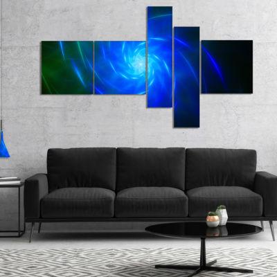 Designart Blue Fractal Whirlpool Design MultipanelAbstract Wall Art Canvas - 4 Panels