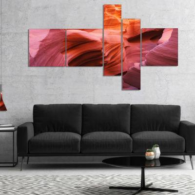 Designart Orange Red Antelope Canyon Multipanel Landscape Photography Canvas Print - 5 Panels