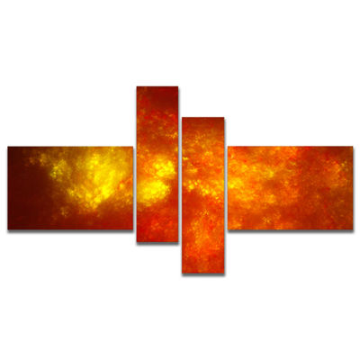 Designart Orange Starry Fractal Sky Multipanel Abstract Canvas Art Print - 4 Panels