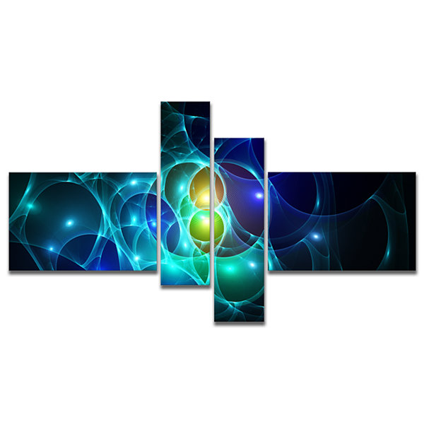 Designart Blue Glowing Bubbles Time Multipanel Abstract Wall Art Canvas - 4 Panels