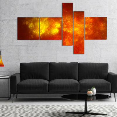 Designart Orange Starry Fractal Sky Multipanel Abstract Canvas Art Print - 5 Panels