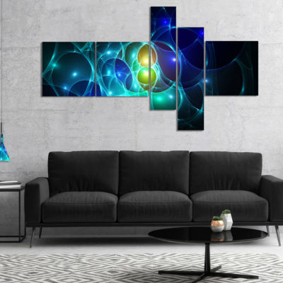 Designart Blue Glowing Bubbles Time Multipanel Abstract Wall Art Canvas - 5 Panels