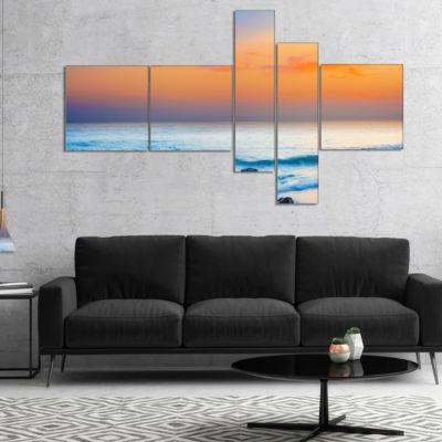 Designart Orange Sunset Panorama Multipanel Photography Canvas Art Print - 5 Panels