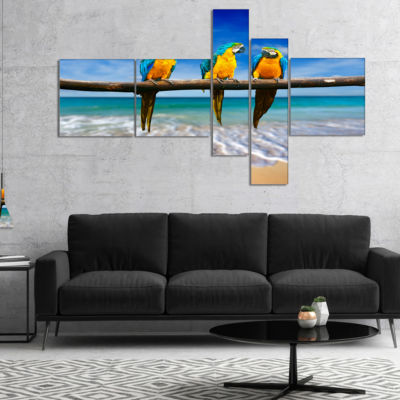 Design Art Blue Gold Macaws At Beach Multipanel Seashore Photo Canvas Print - 5 Panels