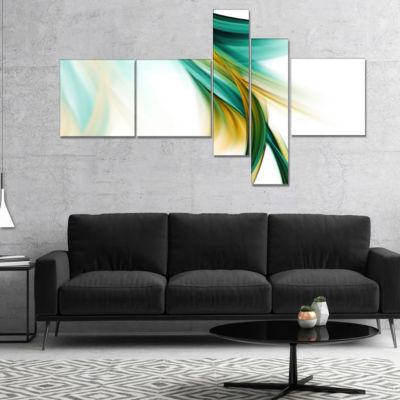 Designart Blue Gold Texture Pattern Multipanel Abstract Canvas Art Print - 4 Panels
