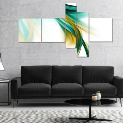 Designart Blue Gold Texture Pattern Multipanel Abstract Canvas Art Print - 5 Panels