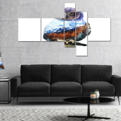 Designart Owl Double Exposure Illustration Multipanel Large Animal Canvas Art Print - 5 Panels