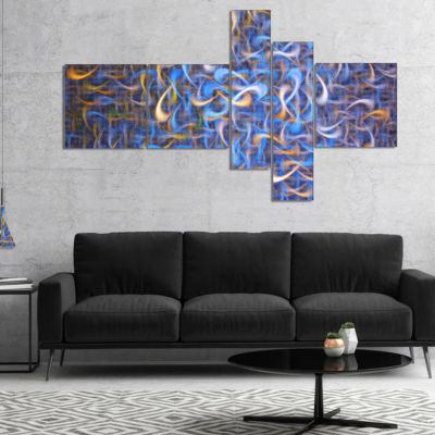 Designart Blue Golden Watercolor Fractal Art Multipanel Abstract Art On Canvas - 5 Panels