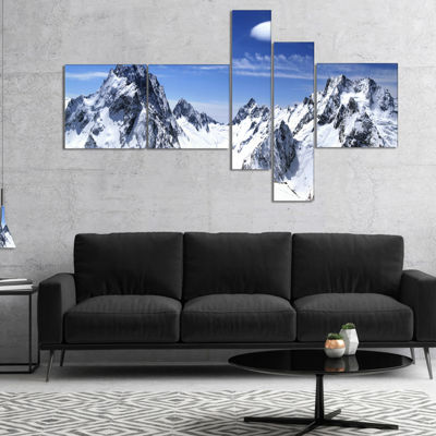 Designart Panorama Caucasus Mountains MultipanelPhotography Canvas Art Print - 4 Panels