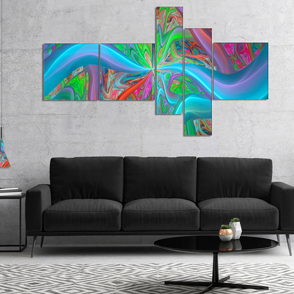 Designart Blue Green Fractal Curves Multipanel Abstract Canvas Art Print - 4 Panels