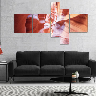 Designart Panoramic View Antelope Canyon Multipanel Landscape Photography Canvas Print - 5 Panels