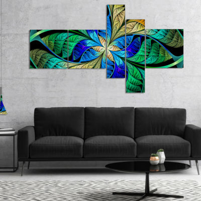 Designart Blue Green Fractal Flower Petals Multipanel Abstract Canvas Art Print - 5 Panels