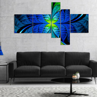 Designart Blue Green Fractal Stained Glass Multipanel Abstract Canvas Art Print - 4 Panels